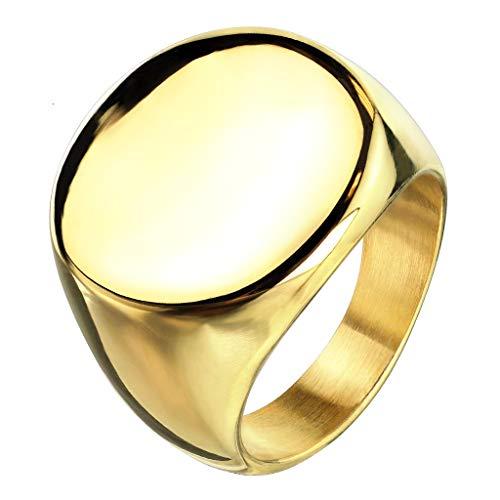 Paula & Fritz® Siegelring Silber gelbgold runde Siegelfläche Damen-Ring Freundschafts-Ring Partnerring Herrenring Verlobungs-Ring Edelstahl Chirurgenstahl 316L R-M6575G_60