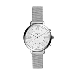 Fossil Women's Jacqueline Stainless Steel Mesh Hybrid Smartwatch, Color: Silver (Model: FTW5019)