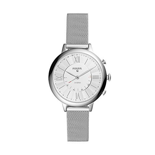 Fossil Women's 36MM Jacqueline Stainless Steel Mesh Hybrid Smart Watch, Color: Silver (Model: FTW5019)