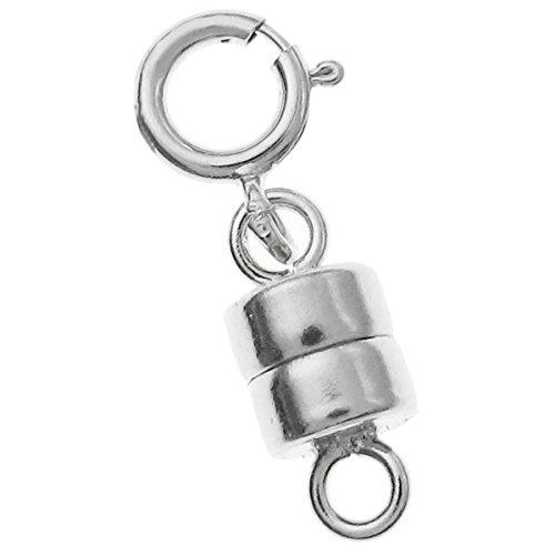 925Sterling Silber 4mm Magnetverschluss Converter Stecker für Halsketten, mit 5mm Federringverschluss
