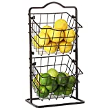 Fruit Basket for Kitchen 2 Tier Vegetable Produce Storage Holder for Countertop Metal Multipurpose Rack for Veggies, K-cup, Potato, Onion, Snacks-Bronze