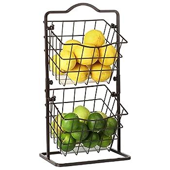 Fruit Basket for Kitchen 2 Tier Vegetable Produce Storage Holder for Countertop Metal Multipurpose Rack for Veggies K-cup Potato Onion Snacks-Bronze