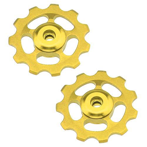2 Stück 11T MTB Fahrrad Stützrad Riemenscheibe Lager Riemenscheibe Rad Fahrrad Schaltwerk Geschwindigkeit (Gold)
