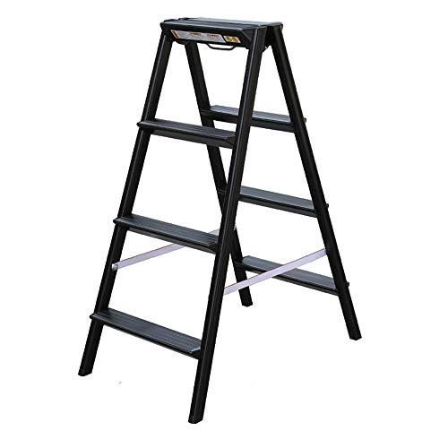 Taburete Plegable Escalera Negra 4 Escalones, Escalera Plegable De Aluminio Para El Hogar, Diseño Fácil De Usar Unión De La Articulación, Pedal Triangular, Cubierta Antideslizante Del Pie, Capacidad D