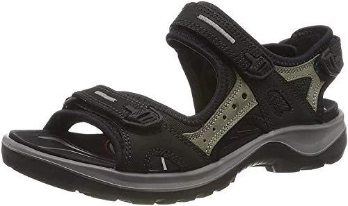 ECCO Damen OFFROAD Flat Sandal, Schwarz (BLACK/MOLE/BLACK), 39 EU