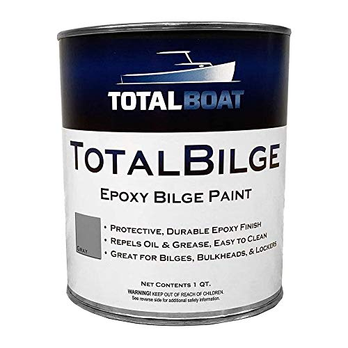 TotalBoat TotalBilge Epoxy Based Bilge Paint for Boat Bilges, Bulkheads, Engine Rooms and Locker Areas (Gray, Quart)