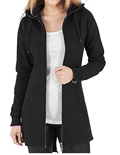 Kidsform Jacke Damen Hoodie Pullover Sweatshirt Kapuzenpullover Sweatjacke Mantel Herbstjacke Outwear Schwarz L