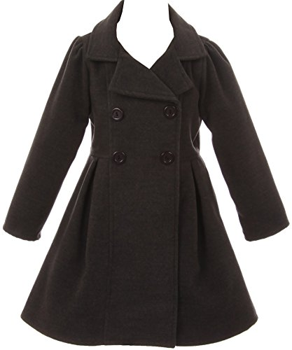 Girl Winter Dress Coat Long Sleeve Buttons and Pockets for Big Girl Charcoal 10 J2049