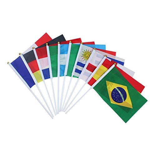 LIOOBO 32 Stücke Internationale Welt Stick Flagge 32 Länder Hand Kleine Nationalflaggen Party Dekorationen für Olympische Weltcup Sport Ereignisse