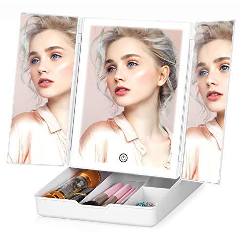 Specchio per Trucco con Luci 32 LED TOGETOP Specchio per Trucco da Tavolo con Luminosità Regolabile/Rotazione 270°/Doppia Alimentazione/Touch Screen/Scatola di Immagazzinaggio/Ricarica USB(Bianco)