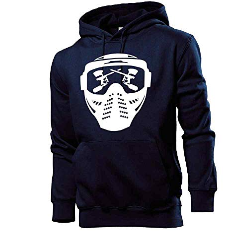 Generisch shirt84.de - Sudadera con capucha para hombre, diseño de máscara de paintball con arma azul marino XL