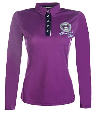 HKM 10020 Poloshirt Diamonds Shine, Damen Shirt Damenshirt Damenpoloshirt, lila, L