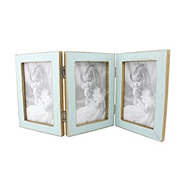 4x6 Inches Simple Rectangular Desktop Family Picture Photo Frame with Glass Front (Blue Triple Frame)