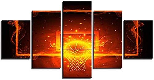 ZEH 5 Pinturas consecutivas Fotos Pintura Modular Arte de la Pared Decoración del hogar Deportes Baloncesto para la Sala de Estar HD Imprimir Cartel Lienzo FACAI