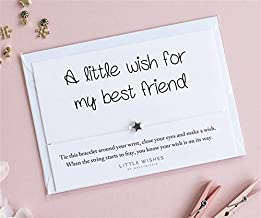 A Little Wish for My Best Friend Charm Bracelet with Envelope Good Luck Present Birthday Christmas Card