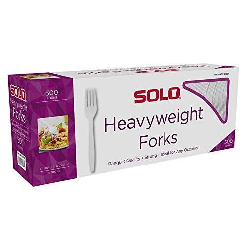 SOLO Cup Company Heavyweight Plastic Cutlery, Forks, Standard, White