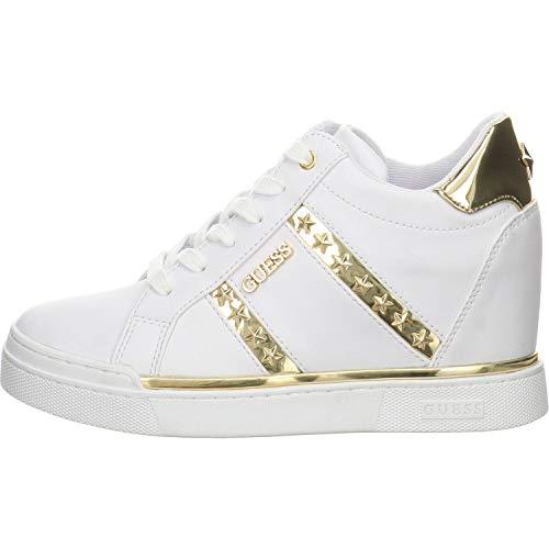 Scarpe Donna Guess Sneaker Alto Modello Fayne in Ecopelle Bianco/Gold DS20GU16