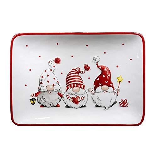 Mazzeo Piatto Decorativo Natalizio con Gnomi Dipinti in Ceramica, 25x17x3 cm, 3+