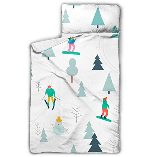 JINCAII Graceful Skiing Action Schlafsack Kinder Kleinkind Rollable Nap Mat mit Decke und Kissen Rollup Design Ideal für Kindergarten Kindertagesstätten Übernachtungen 50