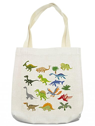 Lunarable Boys Room Tote Bag, Cartoon Dinosaur Images with Other Elements from Jurassic Fauna Cute Creatures, Cloth Linen Reusable Bag for Shopping Groceries Books Beach Travel & More, Cream