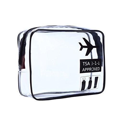 HOYOFO Unisexe en cuir Sac fourre-tout Voyage Trousse de Toilette Maquillage Organisateur en PVC transparent poignée