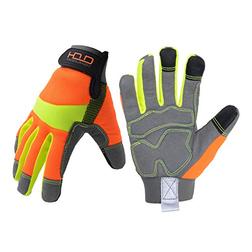 Anti Vibration Gloves,Hi Viz Rigger Safety Rescue Work Gloves with Touchscreen Fingers (Large)