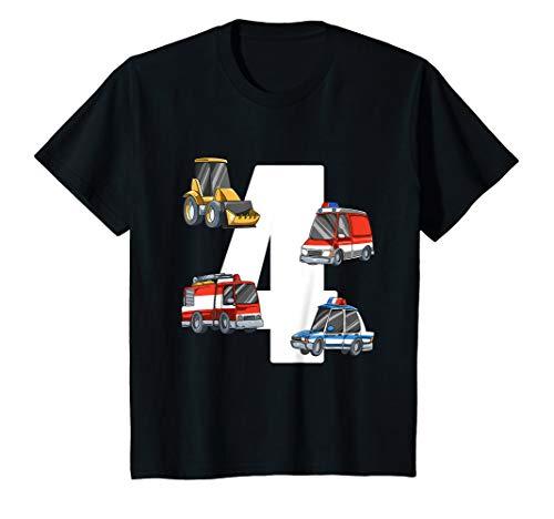 Kinder Rettungswagen und Bagger - 4 Jahre Kindergeburtstag T-Shirt