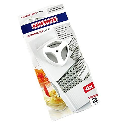 Leifheit Allzweckreibe ComfortLine-Serie mit 4 Einsätzen für vielseitigen Gebrauch, Reibe mit verstellbarem Schneideinsatz, Gemüsehobel mit Restehalter, spülmaschinengeeignet, weiß