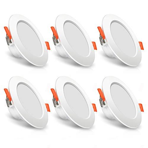 LED Einbaustrahler flach SOLMORE 7W 230v LED Einbauleuchte 3000K Warmweiß mit 400lm, Bad Deckenspots Deckeneinbauleuchte LED Deckenstrahler IP44 Wasserdicht 6er set