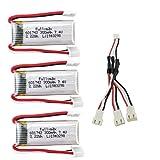 ZYGY 3PCS 7.4V 300mah Lipo Batería y 3 en 1 Cable de conversión para WLToys F959 XK DHC-2 A600 A700 A800 A430 RC Planeador Repustos