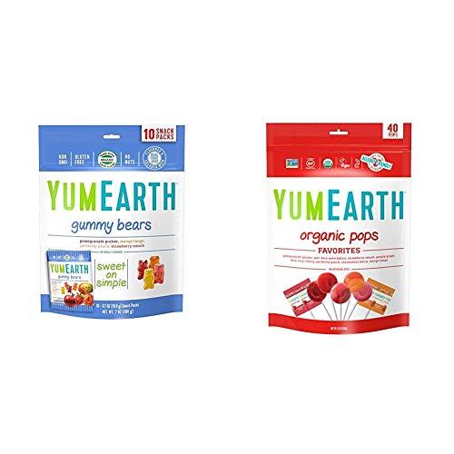 YumEarth Organic Gummy Bears 10 Count amp Organic Lollipops 85 Ounce Bag
