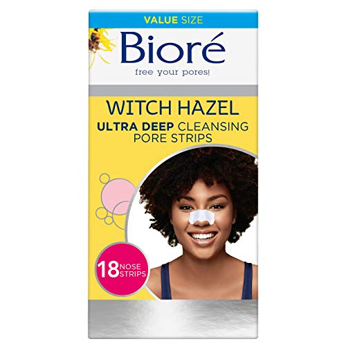 Bioré Witch Hazel Ultra Cleansing Pore Strips, Nose Strips, Clears Pores up to 2x More than Original Pore Strips, 18 Count, features C-Bond Technology, Oil-Free, Non-Comedogenic Use
