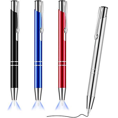 4 Stücke Beleuchteter Spitze Stift Kugelschreiber mit Licht Taschenlampe LED Lichtstift LED Taschenlampe Leuchtstift zum Schreiben im Dunkeln (Schwarz, Silber, Blau, Rot)