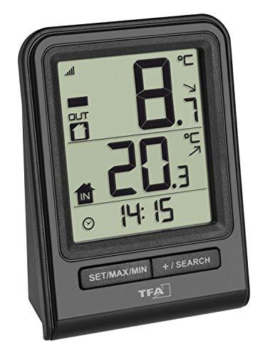 TFA Dostmann Prisma Draadloze thermometer, buitentemperatuur, binnentemperatuur, oppervlakte-antislips, maximum- en laagste waarden