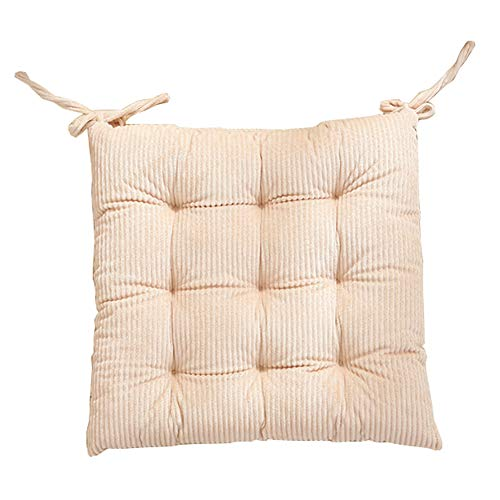 vctops Corduroy Square Chair Cushion Seat Pads with Ties Soft Solid Tufted Design Dining Chair Pad Cushion (Light Yellow,16'x16')