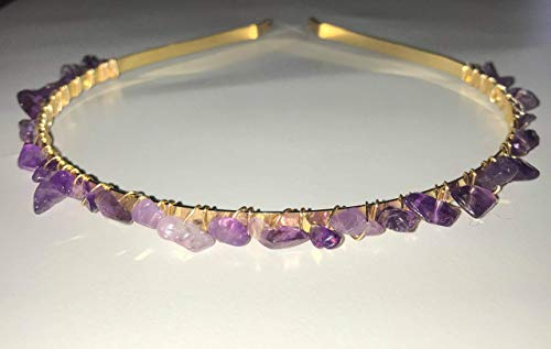 How to wear a Crown: Authentic Amethyst & Gold Headband