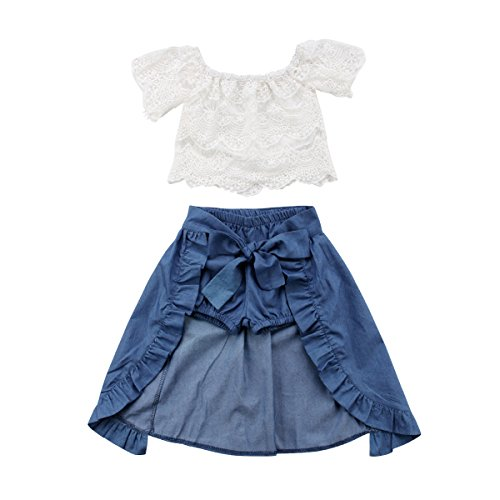3PCS Fashion Toddler Girl Summer Clothes Off Shoulder Lace White Tops+Denim Shorts+Irregular Skirt Outfit Kids Clothing Set(4-5T)