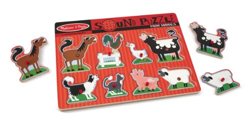 Melissa & Doug Farm Animals Sound Puzzle - Wooden Peg Puzzle With Sound Effects (8 pcs)