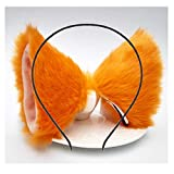 Cat Ears Headband Hair Clips Fox Ears Hair Bands Barrettes Women Furry Kitty Kitten Cat Headpiece Hairband Hair Hoop Halloween Party Decoration Cosplay Costume Handmade Hair Accessories Orangle Pink