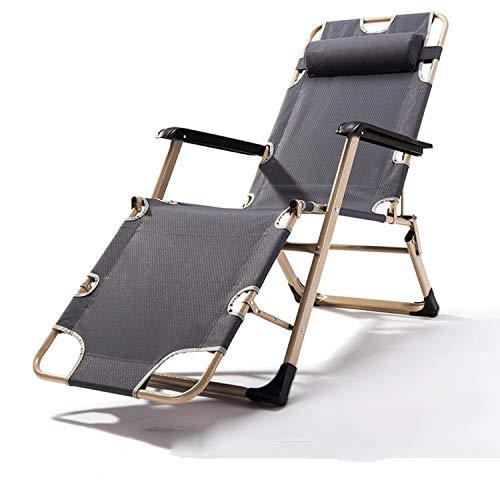 Patio Extérieur Chaise Longue Jardin Textilène Pliable Chaise Inclinable Oreiller Inclinable Réglable Chaise Longue