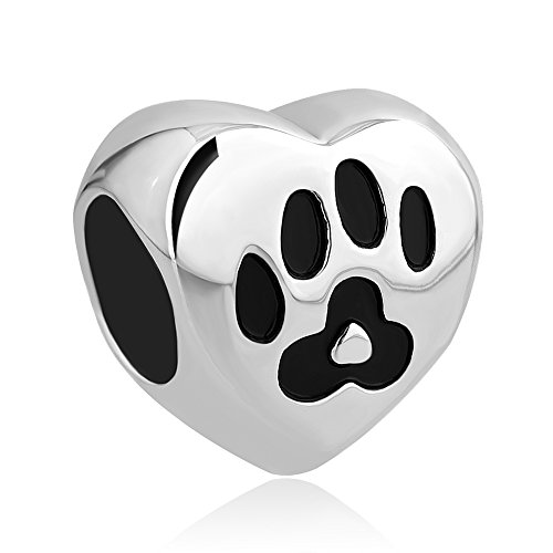 Uniqueen Dog Mom Pet Paw Print Heart Charms Beads For European Charm Bracelets