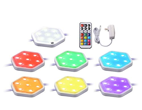 BLACK+DECKER LEDUC-PUCK-7RGB Puck Light Kit, 7-Pack, RGBW (Red, Green, Blue, Cool White)