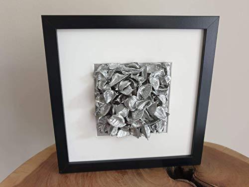 Collagenbilder in edlem Silber, 25 x 25 cm, aus Baumwollkapseln, als Wanddekoration, Wohnungsaccessoire