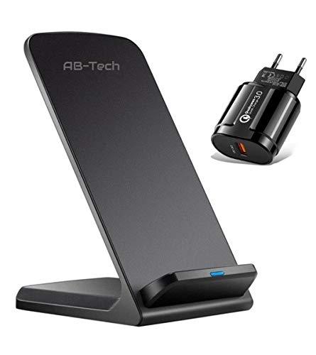 Caricatore wireless + Alimentatore ricarica Rapida QC3 INCLUSO. Caricabatterie Senza Fili 7.5W x IPhone 12/11/11 Pro/XS/XR/X/8/8+/SE 2020,10W x Samsung Galaxy S21/S20/S10/S10E/S9/note 10 e QI Smartphone