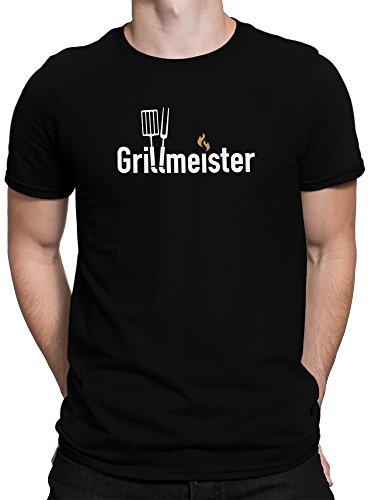 Grillmeister Shirt BBQ Grillparty / Premium Fun Motiv T-Shirt XS-5XL mit Aufdruck / Ideales Geschenk, Color:Schwarz, Size:L