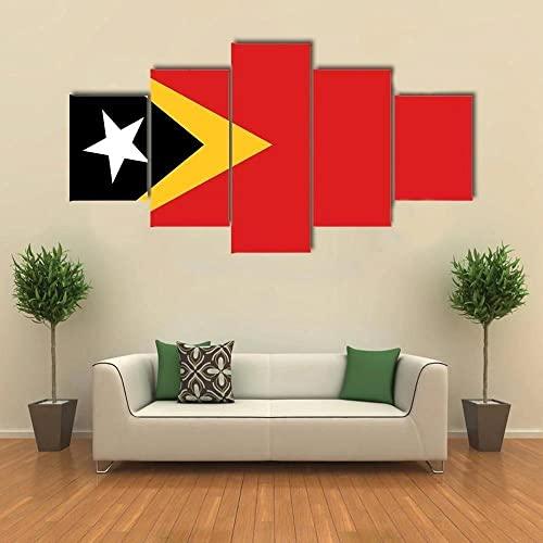 Leinwand Malerei Wandkunst Modulare Bilder Ost-Timor Flagge 5-teilig modernes Gerahmtes Kunstwerk, HD Druck Poster Home Dekorative
