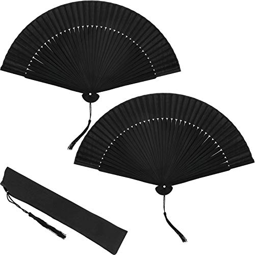 2 Pieces Silk Folding Hand Fan Black Bamboo Handheld Fan Chinese Folded Fan with Tassel for Dance Party Home Decorations