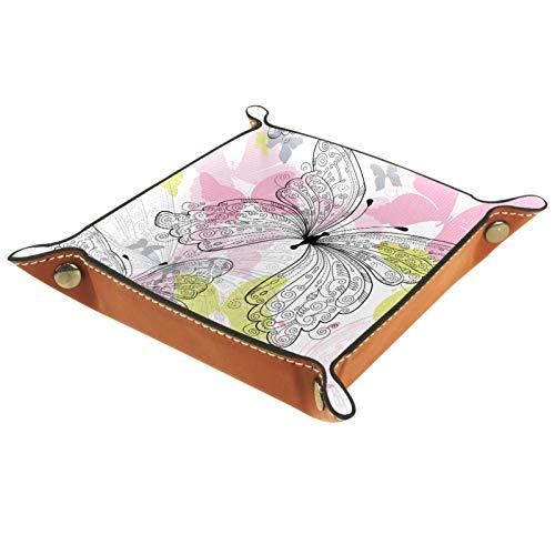 YATELI Caja de Almacenamiento pequeña, Bandeja de Valet para Hombre,Tallo de Flor y Tallo de Mariposa (4),Organizador de Cuero para Llaves de Caja de Monedas
