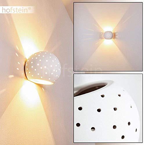Wandlampe Flot aus Keramik in Weiß mit Lochmuster, Wandleuchte mit Up & Down-Effekt, 1 x G9-Fassung max. 33 Watt, Innenwandleuchte mit handelsüblichen Farben bemalbar, geeignet für LED Leuchtmittel
