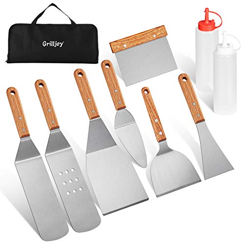 grilljoy 10PC Professional Griddle Spatula Set-Food Grade Stainless Steel Breakfast Kit-Grill Griddle Set for Flat Top Outdoor Cooking - Ideal Gifts for Men